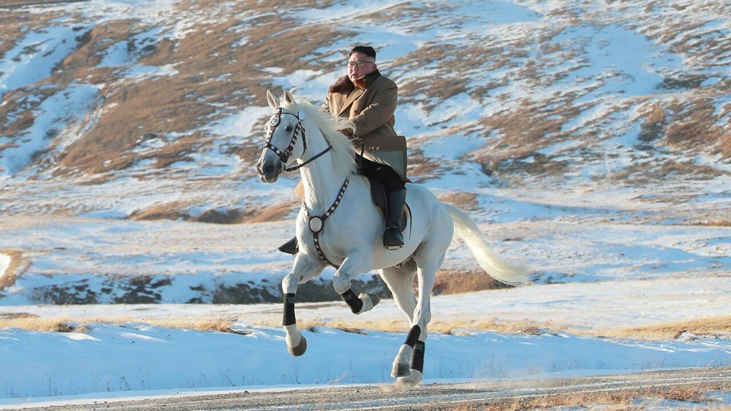 Kim Jong-Un riding a stallion