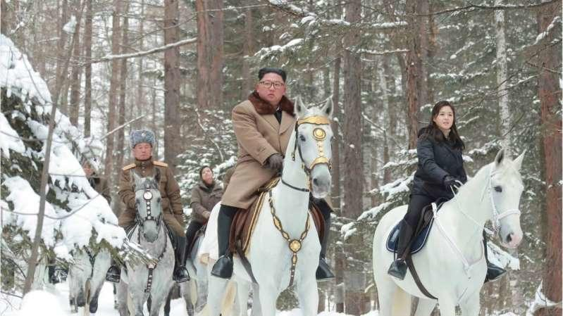 Kim Jong-Un riding horses with senior North Korean military officials