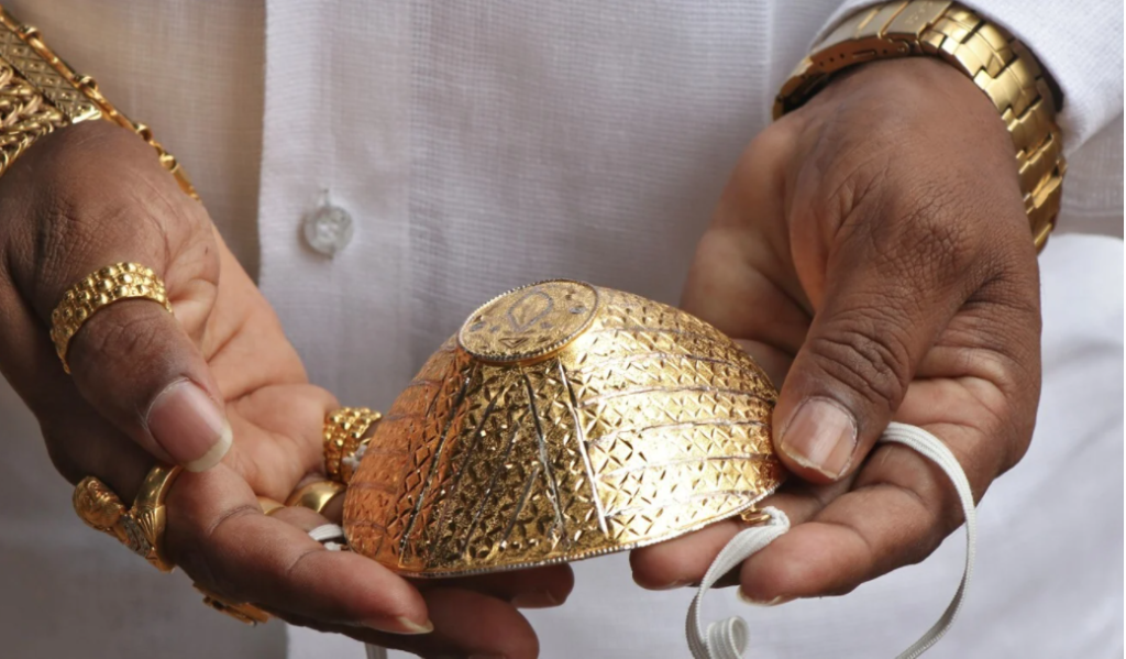 Indian Man Wears GOLD Mask for COVID-19 Protection