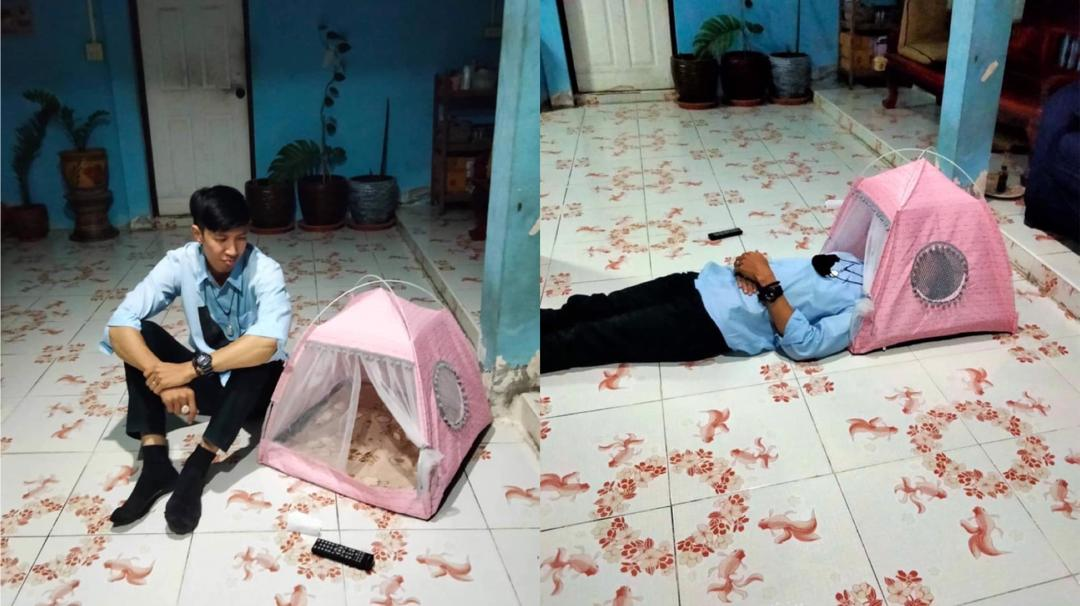 Man Buys Tent for a Romantic DATE, Ends Up Having a Cat Bed