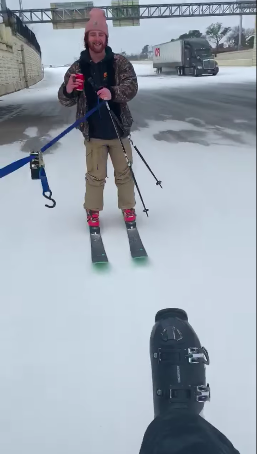 Houston Man Does Highway Skiing Despite Biting Cold Texas Storms